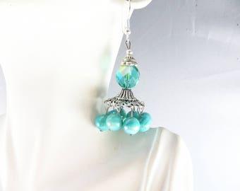 Aqua chandelier earrings