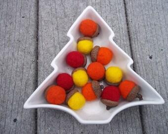 Acorns Needle Felted Red Yellow Orange set of 5
