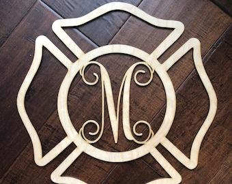 Fireman door hanger, maltese door hanger, maltese badge door hanger, gift for firefighter