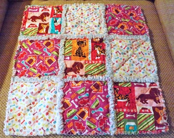 Rag Quilt Lovey for Baby - Security Blanket - Puppies - Cats - Perfect for a Baby Boy or Girl - Purple Blue Red Green