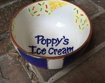 Personalized Ceramic Ice Cream Bowl