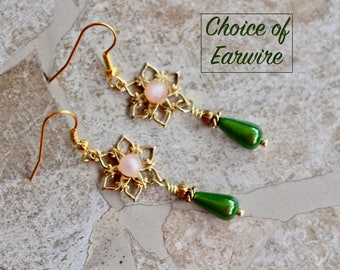 Reclaimed Vintage Earring Assemblage, Pierced, Gold, Pink, Green, Glass, Teardrop, Upcycled, Petite, Jennifer Jones, OOAK - Garden Party