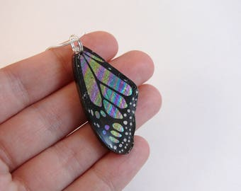 Monarch butterfly wing resin necklace, rainbow oil spill foil jewelry, multicoloured monarch, comes with silver plated snake chain