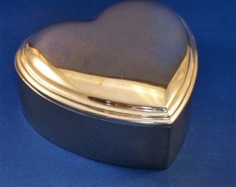 Silver Plated Heart Shaped Jewelry/ Keepsake Box with Blue Velvet Lining