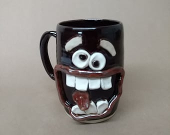 Husband Gift Large Black Coffee Cup. Extremely Happy Big Smiley Face Ug Chug Over 20 Oz Coffee Cup. Ceramic Beer Mug. Unique Man Gift.