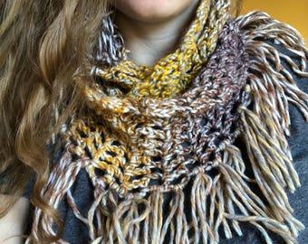 "Crochet Infinity Scarf with Fringe in ""Creme Brûlée"""