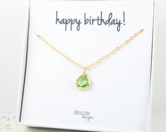 Pierre de naissance août petit collier en or, péridot collier en or, août anniversaire bijoux, collier en or personnalisé, cadeaux de moins de 20