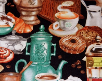 """One Yard Cut Quilt Fabric, """"I LOVE COFFEE"""" Different Servers, grinders, Sweets by Rosilend Solemon for Elizabeths Stuido, Sewing Supplies"""