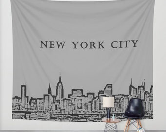 Manhattan Skyline Grey, Wall Tapestry,New York, City,Modern Wall Art,Home Decor,Home Accessories,Bedroom Art,Unique Design,Interior Design