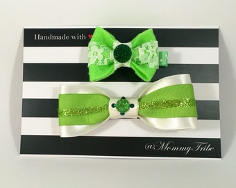 St Patrick's Day bow and Bow Tie Set