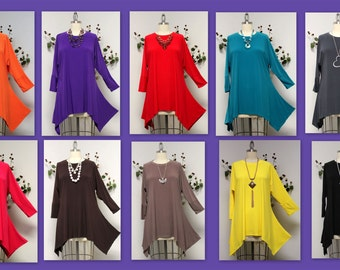 ComfyPlus Adorable and Comfortable Oversize Lagenlook Plus size Tunic. Top Seller. Free Shipping