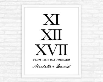 Roman Numeral Print, Wedding Sign, Wedding Gift, Personalized Names of Bride and Groom