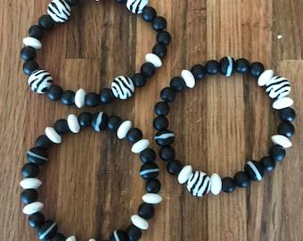 Zebra accent bracelet trio