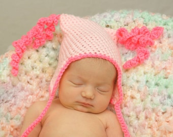 Hand Crocheted Pink Baby Hat with Hanging Curly Cues - Ready To Ship