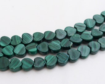 10 x Small Malachite Heart Beads 6mm - Vertical, Craft Supplies, Jewellery Making, Beads, UK Seller (GB1120)