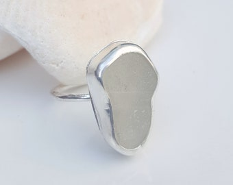Sea Glass Ring Mini Ring Stacker Ring Stacking Ring Frosty White Sea Glass Ring White Sea Glass Bottle Top  Size 7 - R-194