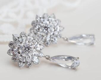 Bridal Earrings, Cubic Zirconia Flower Stud and Teardrop Earrings, Bridal Cubic Zirconia Stud Earrings, Cubic Zirconia Bridal Floral Jewelry