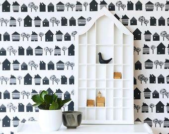 Scandinavian inspired wallpaper, black houses on white, ideal for childrens room, living room, monochrome wall decor