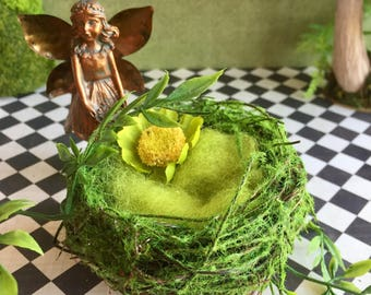 Fairy bed, miniature fairy nest, woodland fae bed