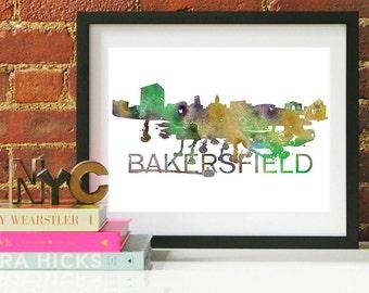 Bakersfield Watercolor Skyline, Bakersfield Skyline, Bakersfield Art, Bakersfield Poster, Bakersfield Print, Bakersfield Art, Bakersfield