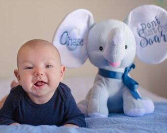 Monogrammed elephant ears, personalized elephant stuffed animal, elephant gifts, baby stats elephant, elephant baby gift for boys, for girls