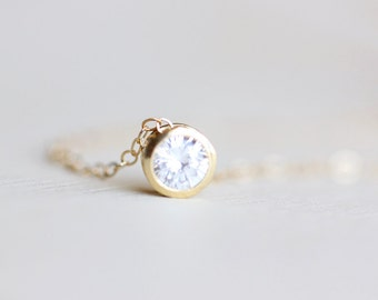 Solitaire Necklace - gold minimalist crystal necklace, simple everyday jewelry by petitor