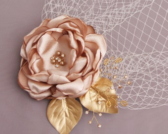 Birdcage Veil, Blusher veil, Wedding Veil, Wedding Headpiece, Bridal fascinator, Champagne Fascinator, Hair FLower CLip, Blush Veil Flower