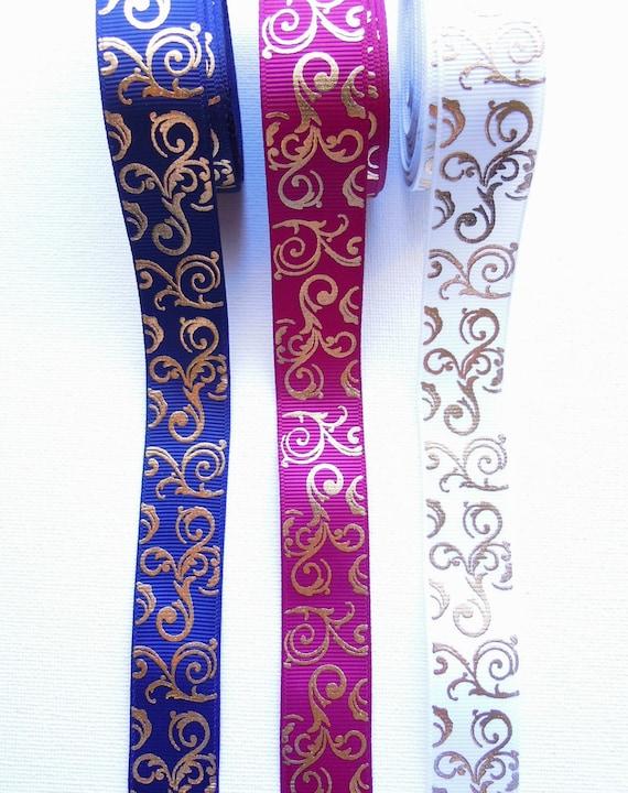 2.5 yds Gold swirls grosgrain ribbon ribbon 22mm, Golden scrolls Christmas ribbon, Art deco gold swirl grosgrain ribbon