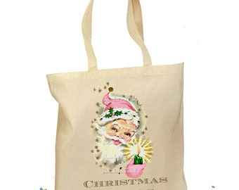 Santa Tote Bag - Pink Christmas Gift Bag - Retro Gift Canvas Vintage Fabric Personalized Canvas Bag - Mid Century Christmas - Santa Pink