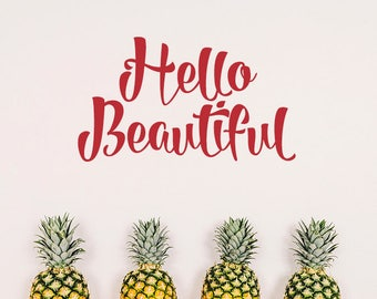 hello beautiful decal,  wall decal, beautiful decal, hello decal, summer decoration, wall decoration, wall decor, summer stickers