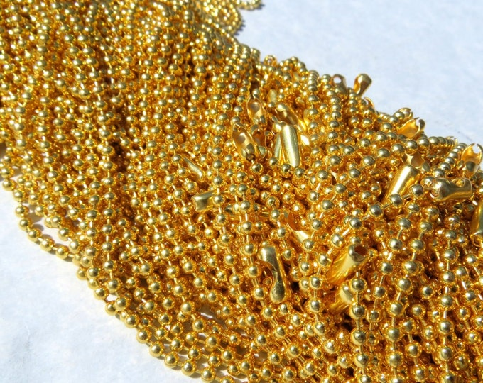Gold Ball Chain Necklaces - 24 inch - 2.4mm Diameter - Set of 100 - Gold Toned