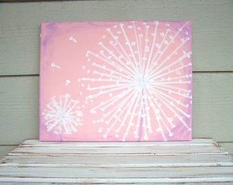 Löwenzahn Malerei - Acryl Malerei-8 x 10-Rustic-Kindergarten Malerei-schäbig schicke Kinderzimmer Wand-Decor-verzweifelt Malerei-Baby Rosa - Lavendel