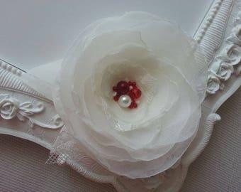 Wedding hair clip bridal flower, ivory wedding Yna hairstyle