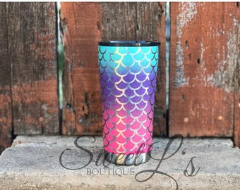 20oz Mermaid Tumbler // pink // purple// aqua// painted Tumblers // glitter tumblers // Mermaid themed