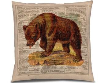 Bear PIllow for Cabin, Ski Cabin Decor, Mountain Home decor, Sofa Throw Pillow, Grisly Bear Print, Retro Bear fabric, Vacation Home Decor