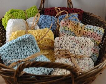 Crochet Cotton Washcloths- Wash Cloths- Bathroom Gift Set- Wash Rag