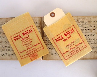 Vintage Buck Wheat Bright Fine Cut Tobacco Bags, nos (2) - Mixed Media, Packaging