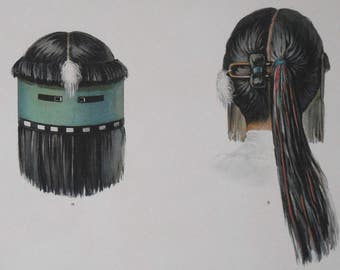 1904 ZUNI Mask of Kothlama. Antique Lithograph. Native American Ceremonial Objects by Hoen. Original Print.