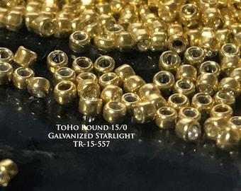 Toho 15/0 Round Seed Beads - Galvanized Starlight - Approximately 10GM (TR-15-557)