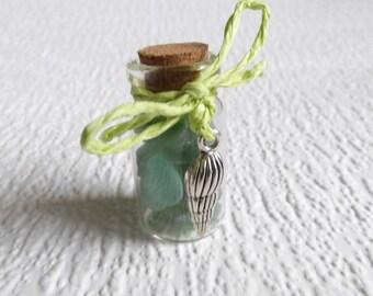 Green Seaham seaglass miniature bottle, genuine English sea glass, glass display, beach glass vial, silver shell charm