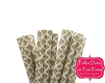 25 METALLIC GOLD Damask Design / Pattern / Paper Drinking Straws / Birthday Party Decoration Ideas and Supplies / Wedding