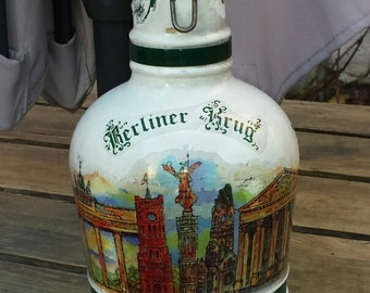 White 2L with handle pewter green beer bottle and Cap porcelain