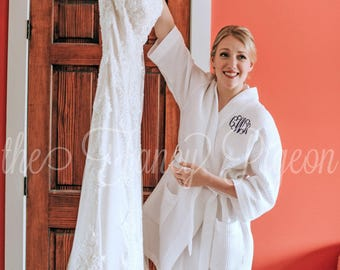 GETTING READY ROBE - Monogrammed Robe - Kimono Robes - Wedding Robe - Bridal Robe - Bridesmaid Robe Set - Waffle Robe - Bridesmaid Gift