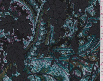 Turquoise Paisley Vineyard Chenille Jacquard, Fabric By The Yard