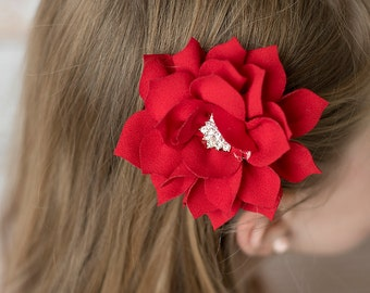 Red Poinsettia flower, 3 inch, flower hair clip, Christmas hair clip, girl hair clip, girl hair bow, hair accessories, hair clips for girls