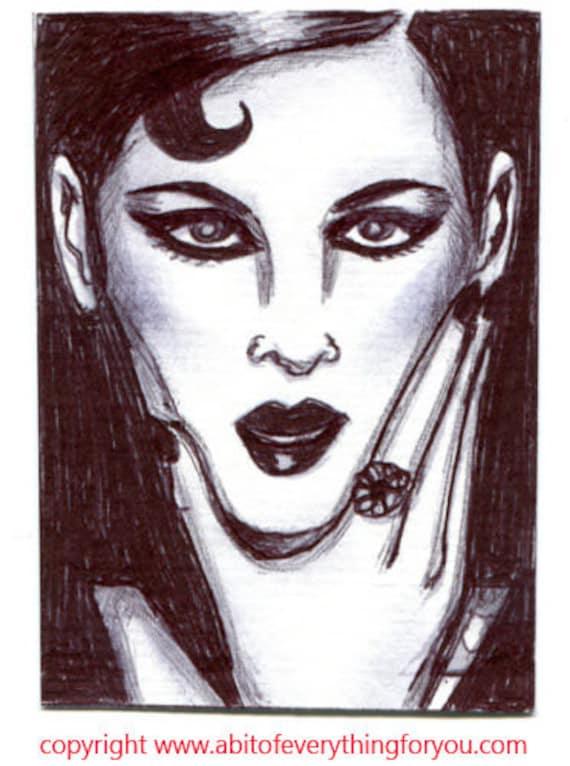 aceo art original pen drawing modern woman thinking face  dark hair makeup black ink sketch illustration miniature artwork