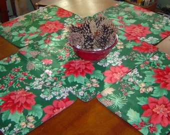 Christmas placemats, square table topper, 4 holiday placemats, reversible placemats, Christmas placemats, holiday mats