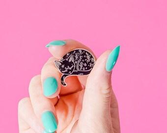 Silver Mystical Cat Enamel Pin // Loll3, sleeping kitty, black cat pin, mystic pin badge // Space kitty