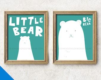 Polar bear nursery ART PRINT, bear nursery decor, turquoise nursery, cute animal art, polar bear baby shower gift, children's art room decor