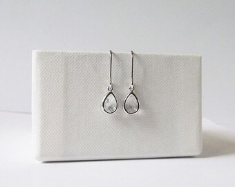 tiny silver teardrop earrings, drop dangle earrings, tiny teardrop earrings gift for teens bridesmaids gift